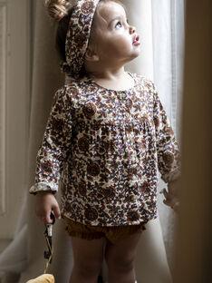 Baby girl's brown and ecru blouse with flowery print DARLA 21 / 21IU1911N09003