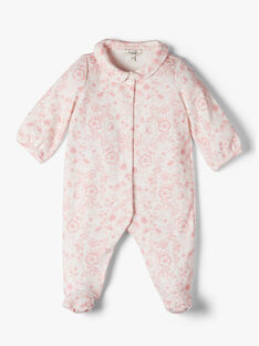 Girls' Pima cotton sleepsuit with pink floral print  ALANUIT 20 / 20PV7113N31114
